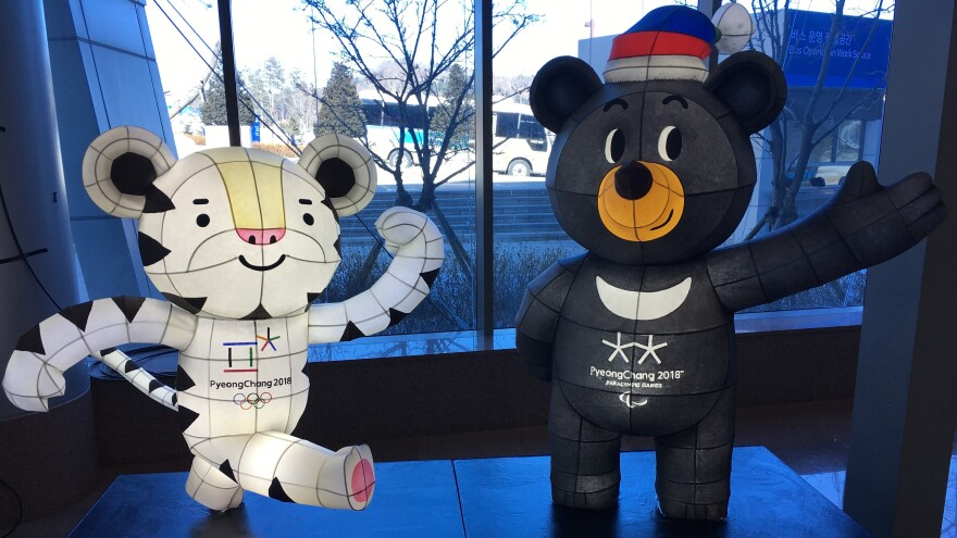 Soohorang (left) the mascot of the Pyeongchang Winter Olympics, and Bandabi, mascot of the Paralympics, welcome visitors to the Alpensia Resort in Pyeongchang, one of many facilities that has been reworked for the games.