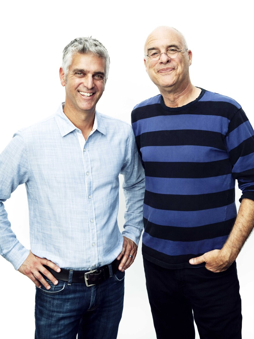 Former <em>New York Times</em> food writer Mark Bittman (right) with Andy Levitt, the founder and CEO of The Purple Carrot.