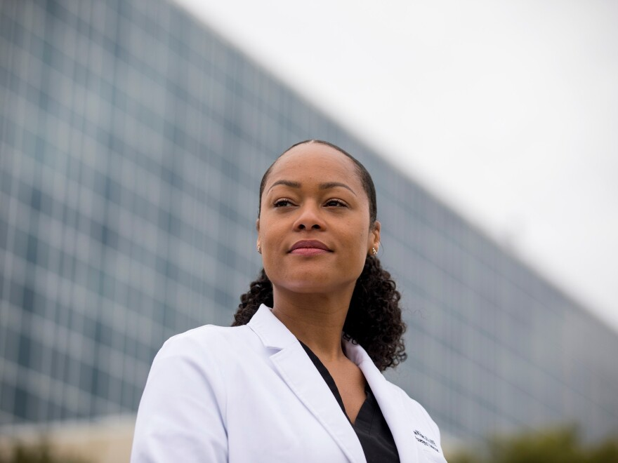 Dr. Marcee Wilder stands outside United Medical Center, the public hospital serving Wards 7 and 8. She says her patients were more vulnerable to COVID-19 because they had less access to good food, steady income and reliable healthcare.