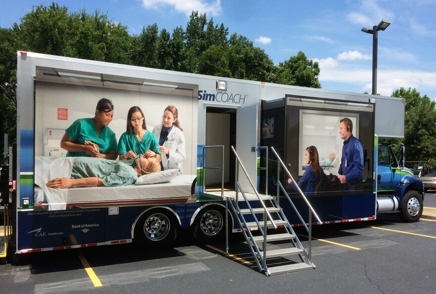 The University of South Carolina School of Medicine takes this SimCOACH — outfitted with two simulated hospital delivery rooms — throughout the state to train health care providers in a variety of procedures. Among the topics: the insertion and removal of contraceptive implants and IUDs.