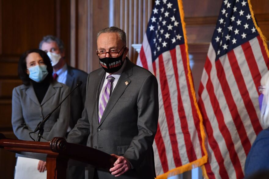 Senate Majority Leader Chuck Schumer, D-N.Y., tells reporters Tuesday that the Senate can do the impeachment trial and COVID-19 relief simultaneously.
