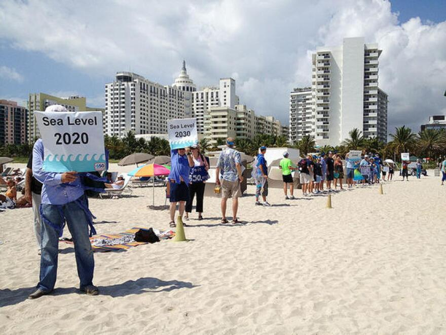 Sept. 21, 2013 - Activists on Miami Beach protest the state's lack of plans to deal with sea level rise caused by climate change.