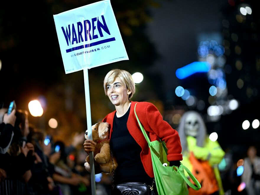 A woman dressed as Sen. Elizabeth Warren for the annual Village Halloween parade in 2019 in New York City.