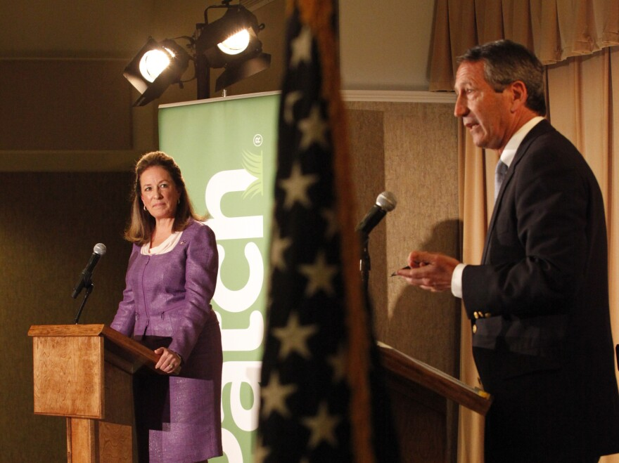 Democrat Elizabeth Colbert Busch and her Republican opponent, former South Carolina Gov. Mark Sanford, debate in Charleston, S.C., on April 29.