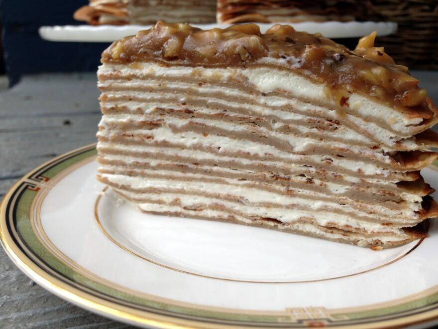 Banana Crepe Cake With Yogurt And Walnut Butterscotch