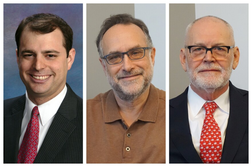 "From left, Patrick Ishmael, Dr. Ed Weisbart and Wendell Potter joined ""St. Louis on the Air"" to discuss the future of U.S. health care and its implications for the region."