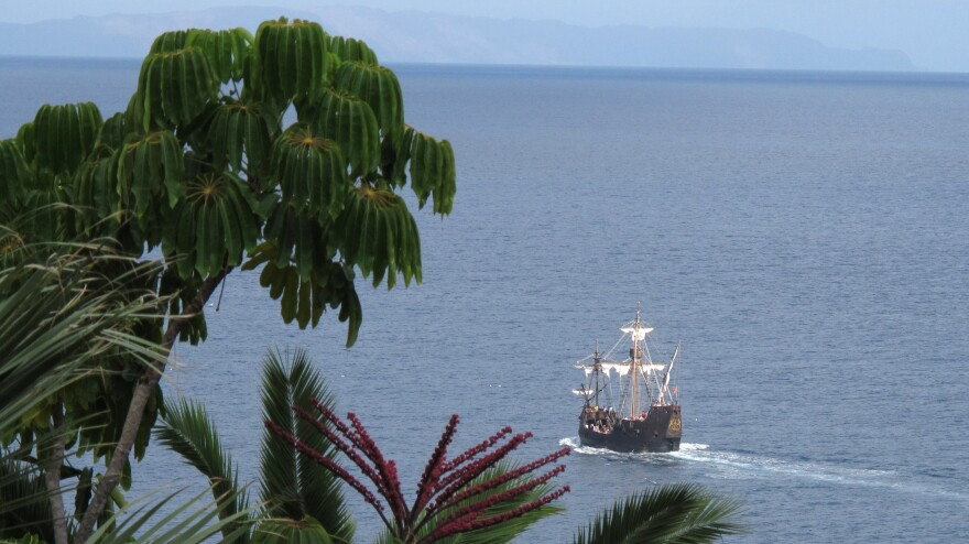 A 2011 photo shows a replica of Christopher Columbus' flagship, the Santa Maria, off the Portuguese island of Madeira. The location of the Santa Maria has been a mystery; an explorer says he might have found it.