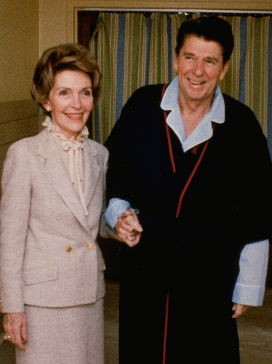 The Reagans at the George Washington University Medical Center today, April 3, 1981.