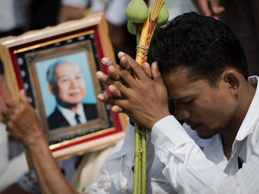 One of the thousands of mourners today in Phnom Penh as the body of former King Norodom Sihanouk was brought home.