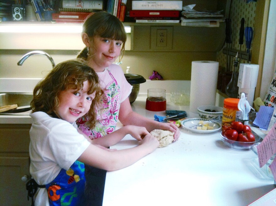 """Eve Schaub says her daughters were """"less than enthusiastic"""" at first about the family's no-sugar-for-a-year experiment. But over time they learned to enjoy sugar-free baking."""
