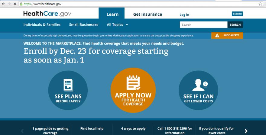 Screen shot of Healthcare.gov on Dec. 3.