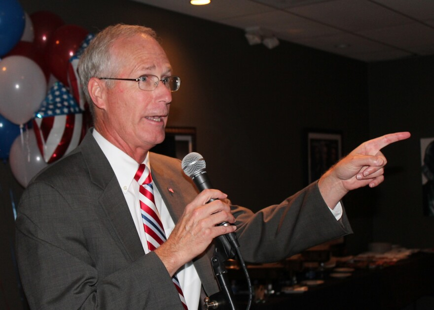 Rick Stream speaks to his supporters after winning the GOP nomination for St. Louis County executive.
