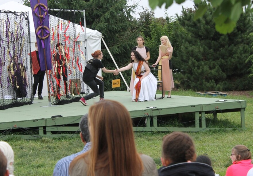 Student actors perform a 20-minute version of Antony and Cleopatra on the Lobby Stage