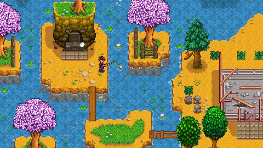 You and your fishing pole in Stardew Valley.