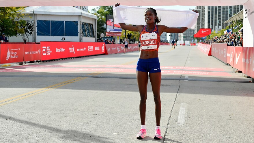 Kenya's Brigid Kosgei won the 2019 Chicago Marathon on Sunday with at time of 2 hours 14 minutes and 4 seconds. Kosgei's time also marks a new world record marathon time.