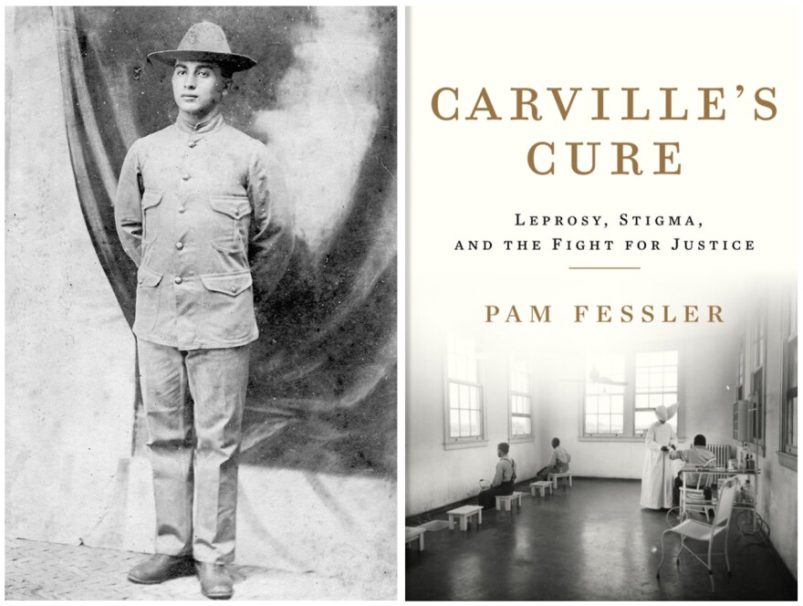 Morris Koll, grandfather of NPR correspondent Pam Fessler's husband, enlisted in the U.S. Army and was sent to the Philippines in 1902. That's when he contracted leprosy. In 1935, public health authorities took him to the national leprosarium in Carville, Louisiana. Right: A treatment room at the facility is depicted on the cover of Fessler's new book, <em>Carville's Cure.</em>