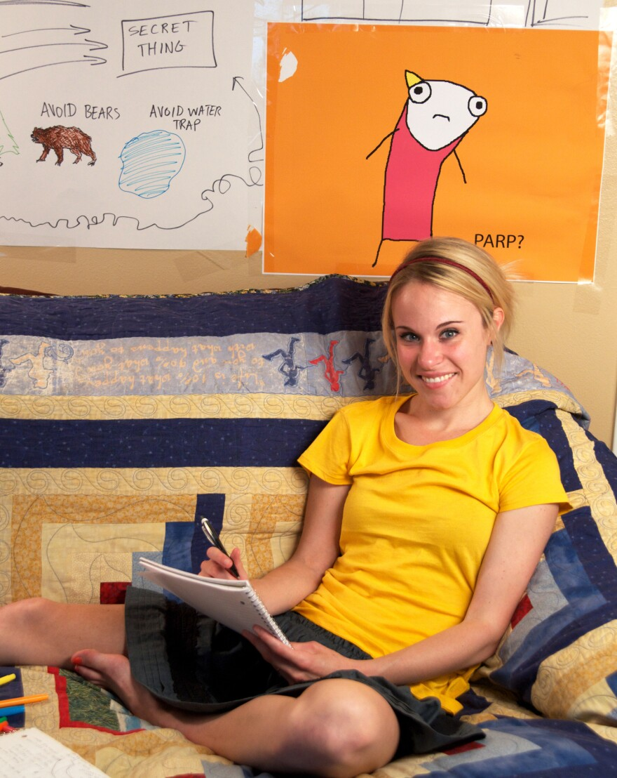 <em></em> <em>Hyperbole and a Half</em> is Allie Brosh's first book. In it, as on her blog, she draws herself with a tube body and a yellow, triangle ponytail.