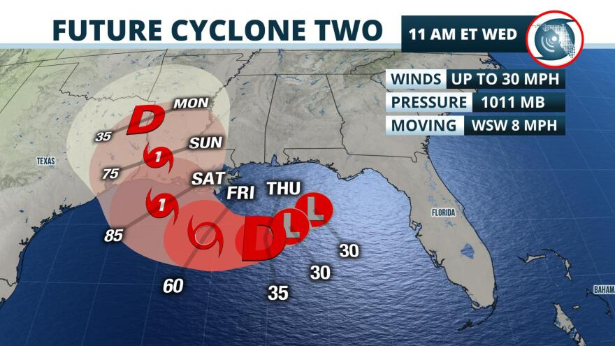 A tropical storm watch has been issued for parts of Mississippi and Louisiana as a system that has moved into the Gulf of Mexico is poised to form into a tropical depression by Thursday and could become a hurricane before the weekend.