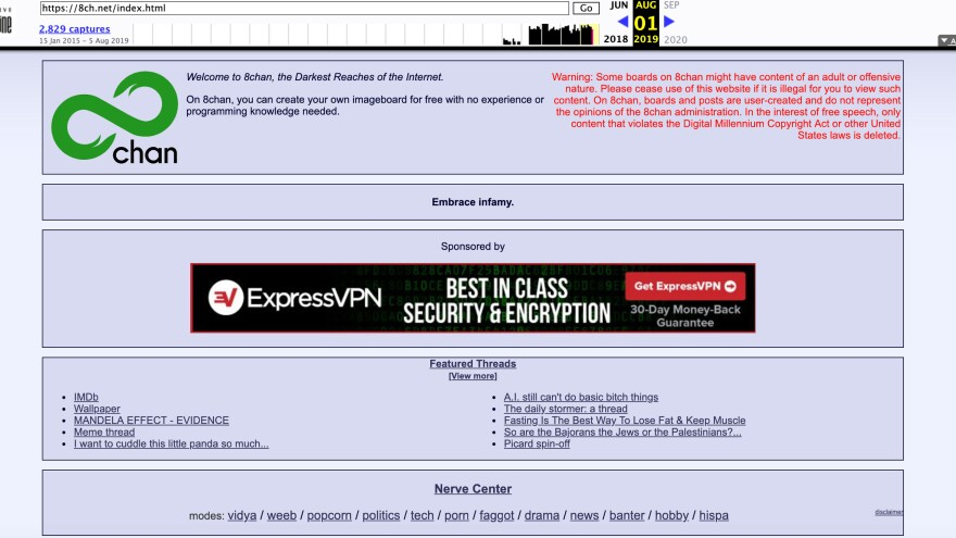 "An archived screenshot of 8chan, an online message board that shooters have used to post messages before their attacks, describes itself as ""the darkest reaches of the Internet."""