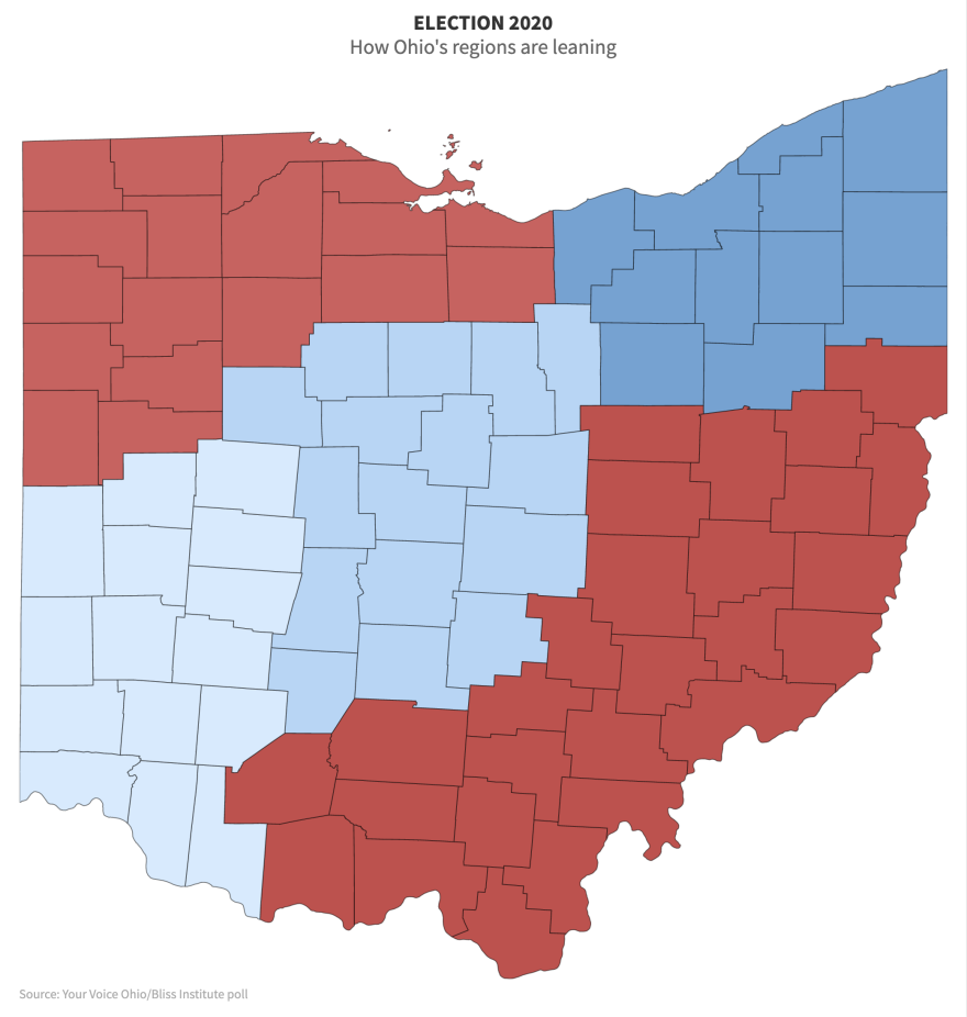 screenshot of interactive county polling map of Ohio