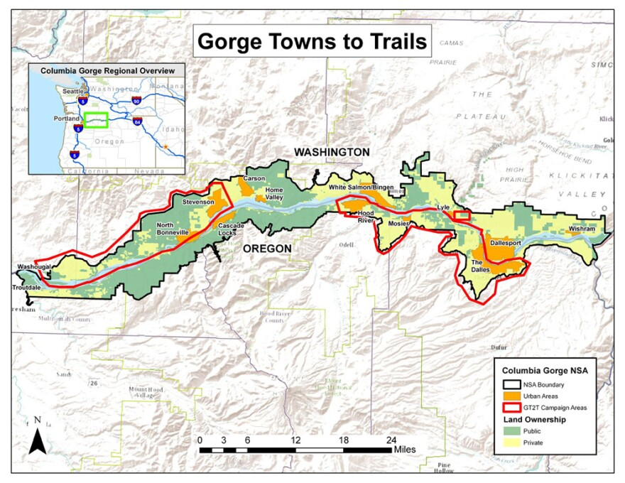 A map showing the three priority corridors for building trails.