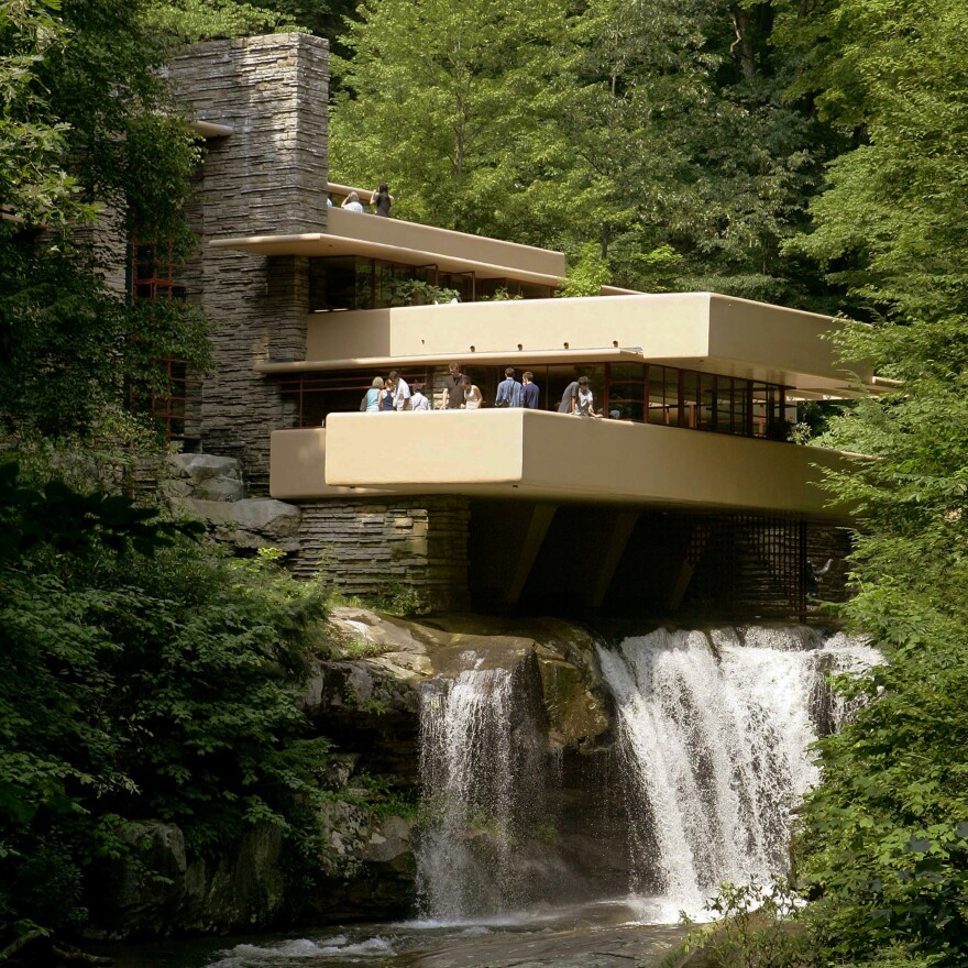 Visitors gather on one of the cantilevered terraces at Fallingwater, a Frank Lloyd Wright design in Pennsylvania. Eight Wright buildings, including Fallingwater, were honored as World Heritage sites by UNESCO, on July 7, 2019.