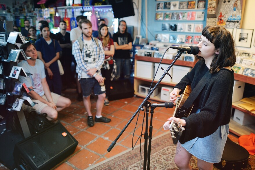 Waxahatchee's Katie Crutchfield plays a solo set at Austin's End of an Ear record store.