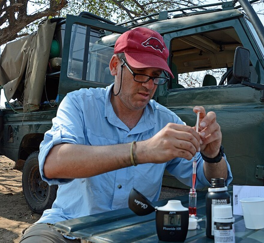 Dr. Ungar in the field researching the oral health and development of a hunter-gatherer tribe in Tanzania.