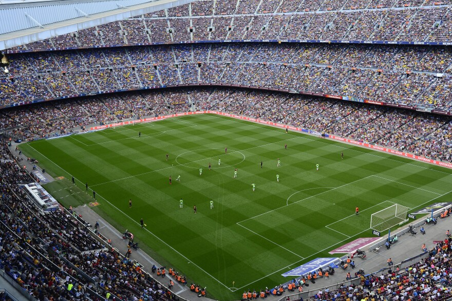 "FC Barcelona plays Getafe in Barcelona, Spain, on May 3. Spain's soccer federation says it will halt all professional games ""indefinitely"" starting May 16, to protest a new law regulating the sale of television game rights. Spain's professional soccer league opposes the planned suspension, but the players union supports it."