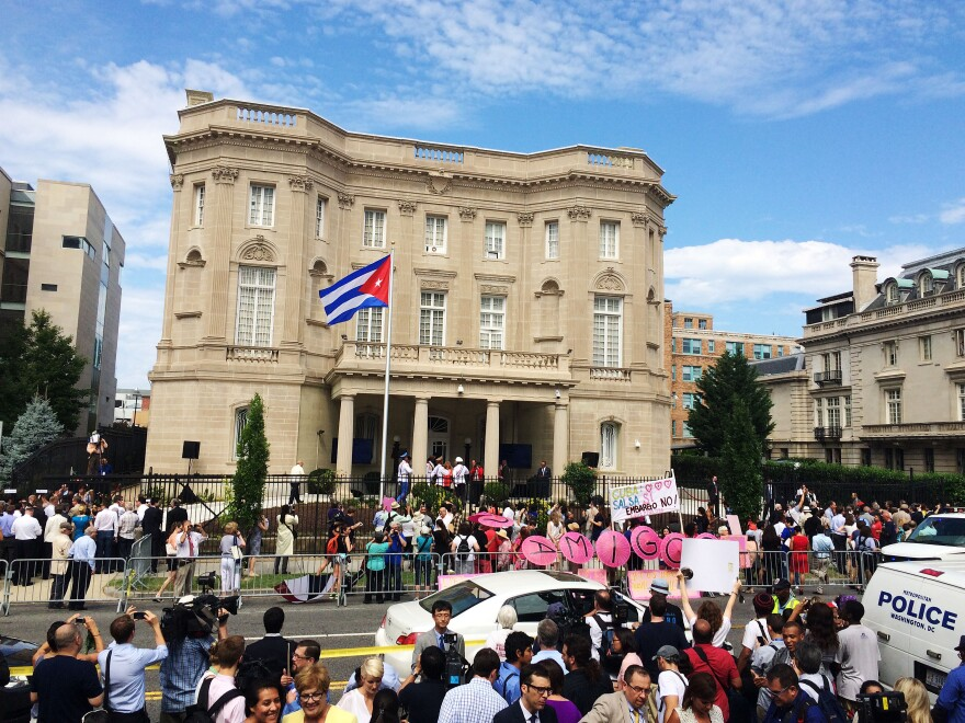 The Cuban flag was raised over the reopened Cuban Embassy in Washington, D.C., on July 20. The U.S. Embassy in Havana is set to reopen on Friday.