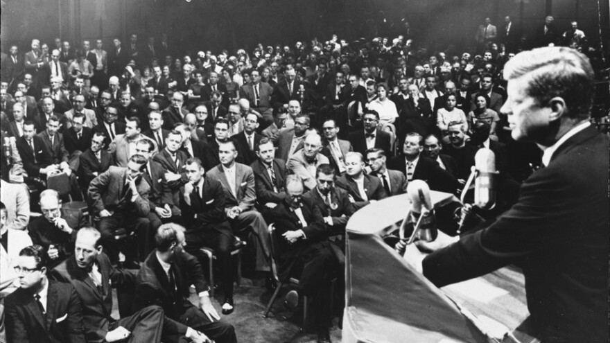 Then-Sen. John F. Kennedy participates in a question-and-answer session with the Ministers' Association of Greater Houston on Sept. 12, 1960, in Houston. In a speech to the group, Kennedy addressed concerns about his Catholicism and his run for the presidency.