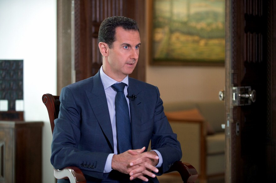 Syrian President Bashar Assad at the presidential palace in Damascus.