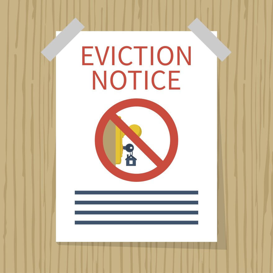 Photo illustration of an eviction notice taped to a door