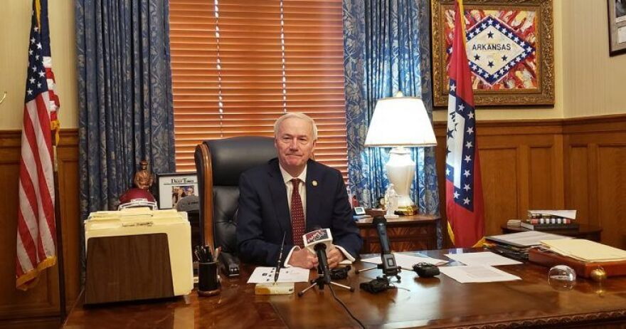 Arkansas Governor Asa Hutchinson at a press conference in the Governor's office naming his new cabinet secretaries