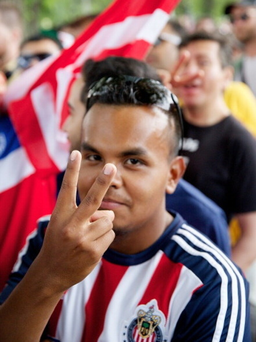 A soccer fan watches the U.S. vs. Portugal match in Chicago.