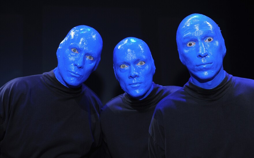 Phil Stanton (from left), Chris Wink and Matt Goldman are the founders of the theatrical performance troupe Blue Man Group.