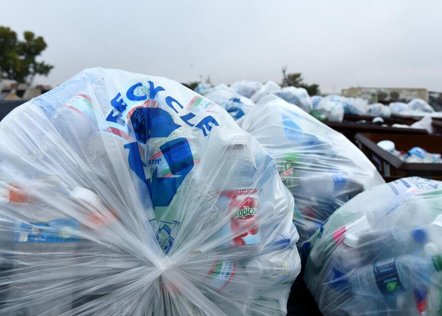 Photo of bags of plastic recycling.