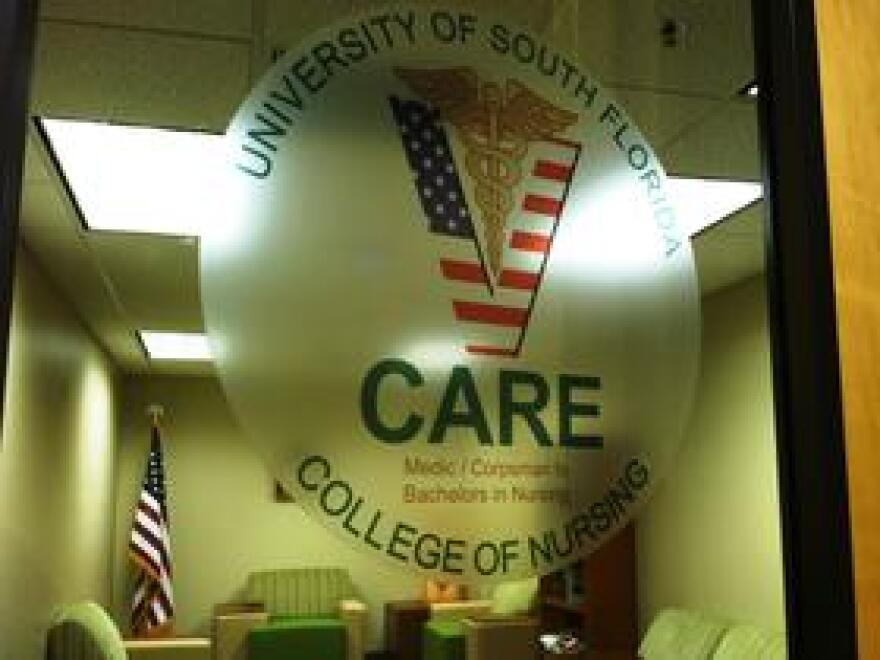The entry door into the V-CARE nursing student lounge at the USF College of Nursing.