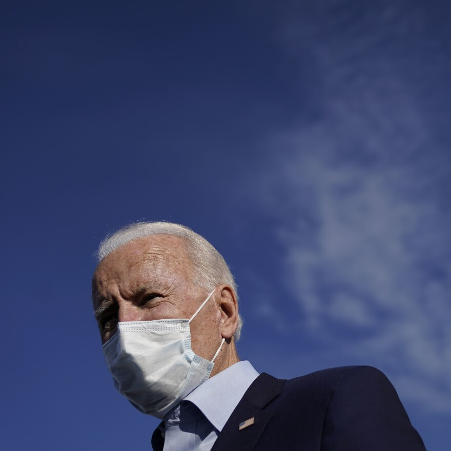 Democratic presidential nominee and former Vice President Joe Biden speaks to reporters before boarding his campaign plane at Duluth International Airport on September 18, 2020 in Duluth, Minn.