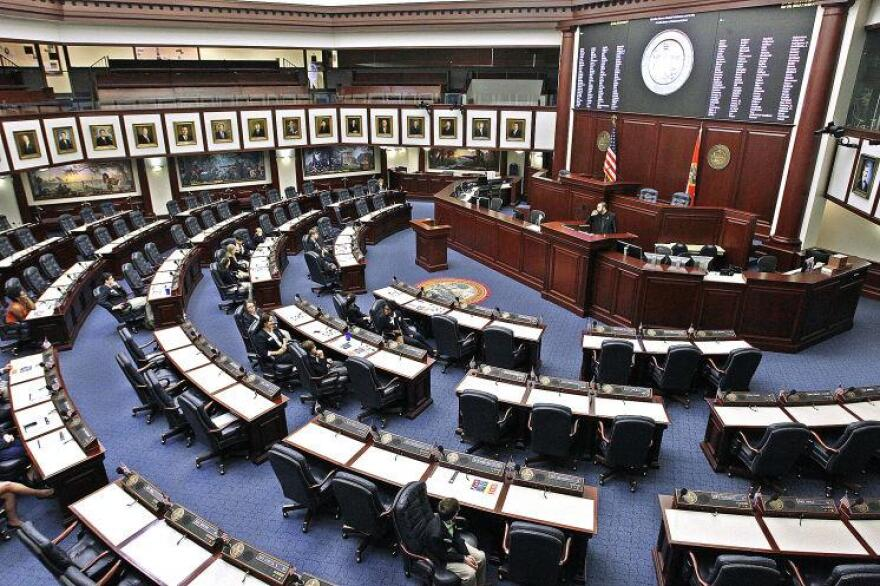 The Florida House chamber sits empty.