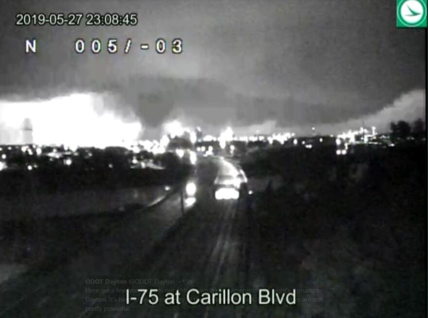 Traffic picture of tornado near I-75