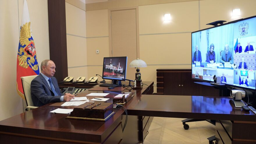 Russian President Vladimir Putin chairs a video conference meeting on the COVID-19 situation on Monday.