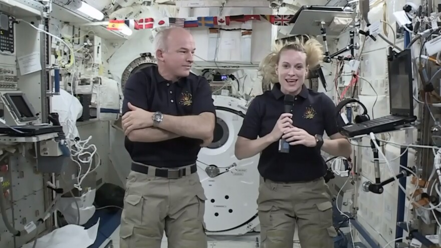 Astronaut Kate Rubins and Expedition 48 Cmdr. Jeff Williams speak during an interview aboard the International Space Station last month.
