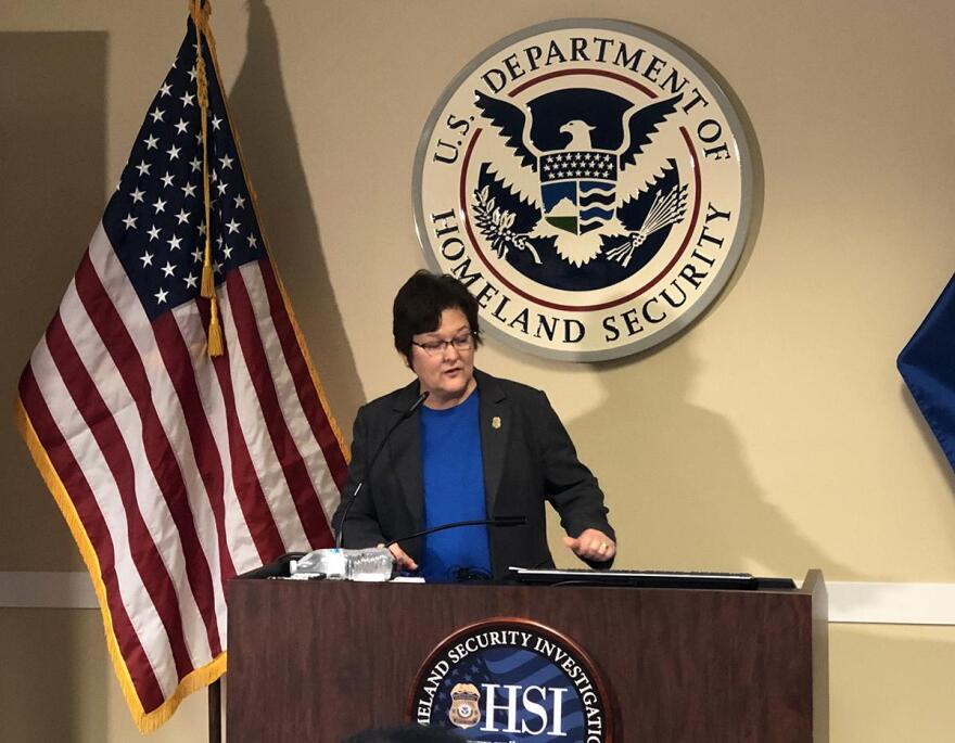 Katrina Berger, Homeland Security Investigations Special Agent in Charge, during a press conference in Irving, Texas, on Wednesday, April 3, 2019.
