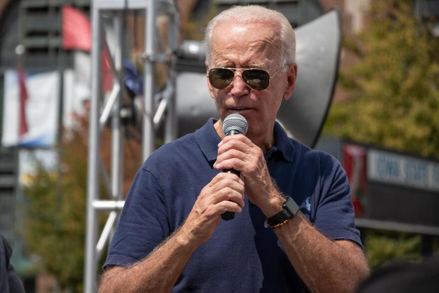 Former Vice President Joe Biden speaks at the Des Moines Register's Political Soapbox at the Iowa State Fair on August 8, 2019.