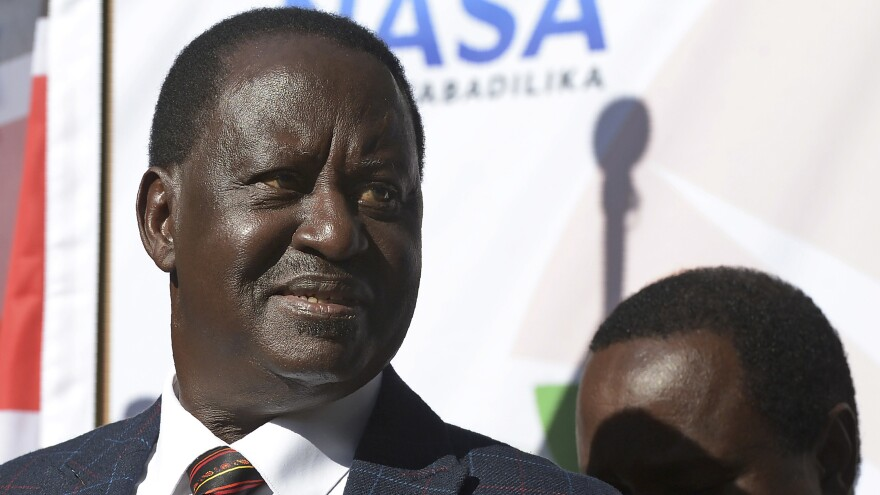 Kenyan opposition leader Raila Odinga addresses the media Wednesday at the offices of his National Super Alliance, or NASA, coalition in Nairobi. Odinga said he would take his allegations of electoral fraud to the country's Supreme Court — after previously refusing to do so — and vowed to protest peacefully.