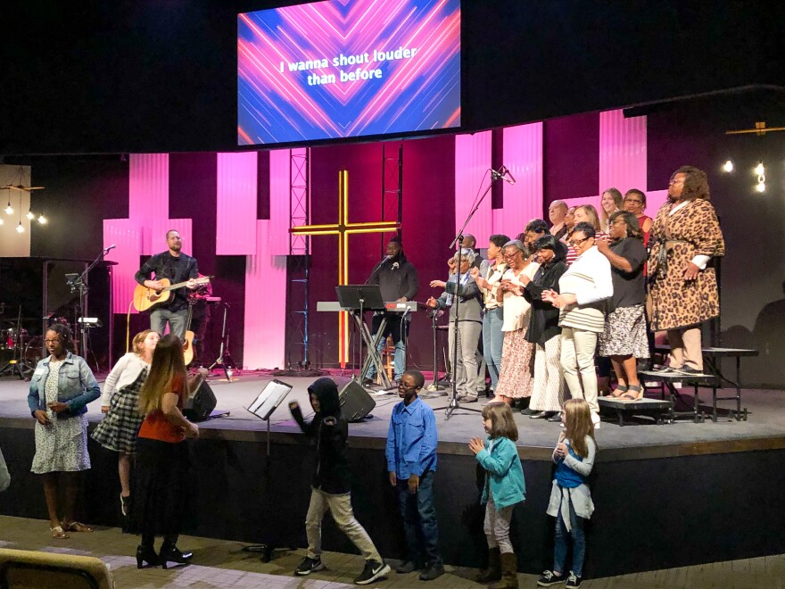 The choir at Meadowridge Baptist church in Fort Worth, Texas, performs at a worship service in October 2019.