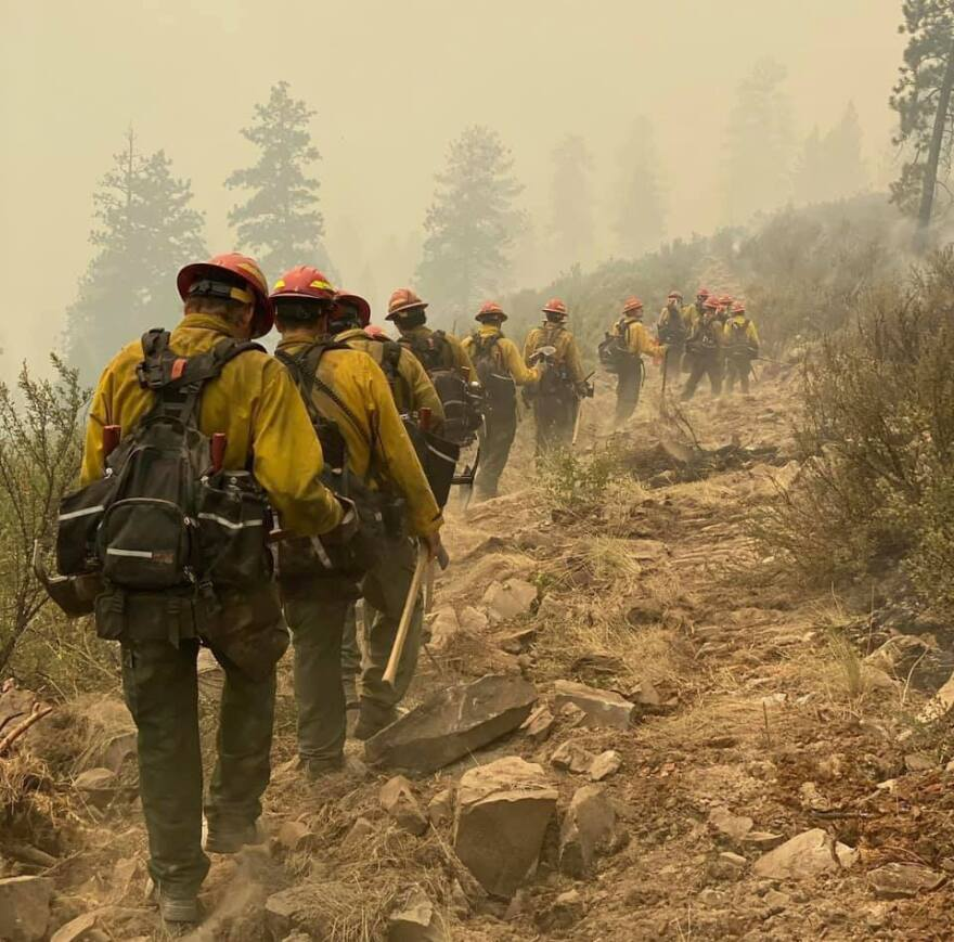 Firefighters on the Magpie Rock fire near Dixon, MT, early August 2020.