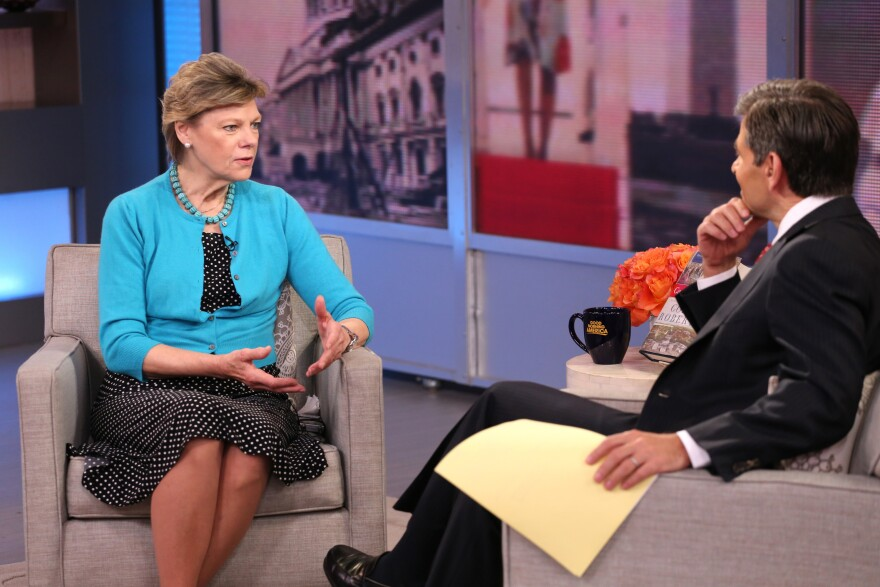 Cokie Roberts talks about her book <em>Capital Dames</em> on ABC's <em>Good Morning America</em> with George Stephanopoulos last April. Roberts left her position as a full-time staffer at NPR in 1992 but has regularly appeared on the air as a commentator.
