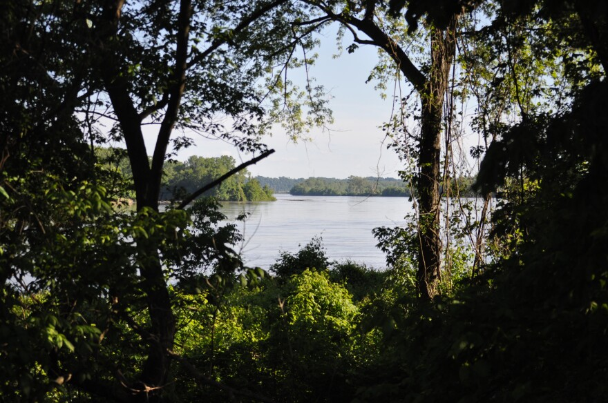 A view of a lake from the Katy Trail in St. Charles.